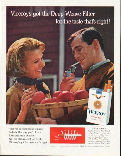"""1964 Viceroy Cigarettes Ad """"Deep-Weave Filter"""""""