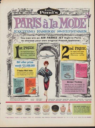 "1960 Pond's Skin Cream Ad ""Paris A La Mode"""