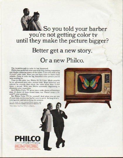 "1965 Philco Television Ad ""told your barber"""