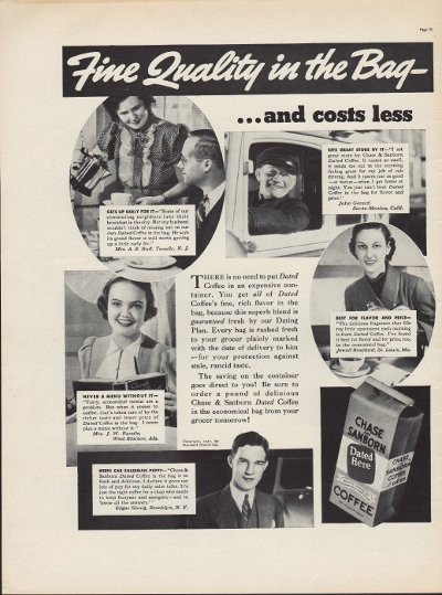 """1937 Chase & Sanborn Coffee Ad """"In The Bag"""""""