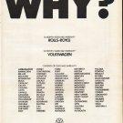 "1972 Volkswagen Ad ""Why?"""