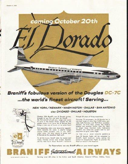 """1956 Braniff Airways Ad """"El Dorado"""""""