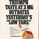 """1980 Triumph Cigarettes Ad """"low tars"""""""