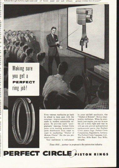 "1958 Perfect Circle Piston Rings Ad ""Making sure"""
