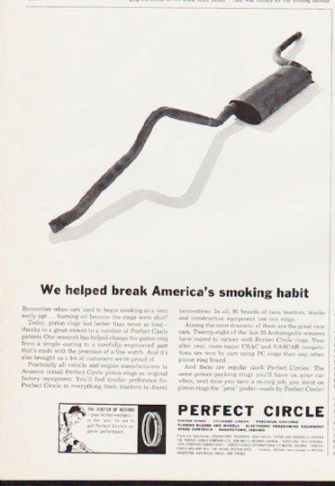 """1963 Perfect Circle Piston Rings Ad """"smoking habit"""""""