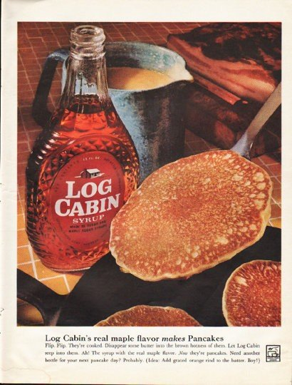 "1961 Log Cabin Syrup Ad ""real maple flavor"""