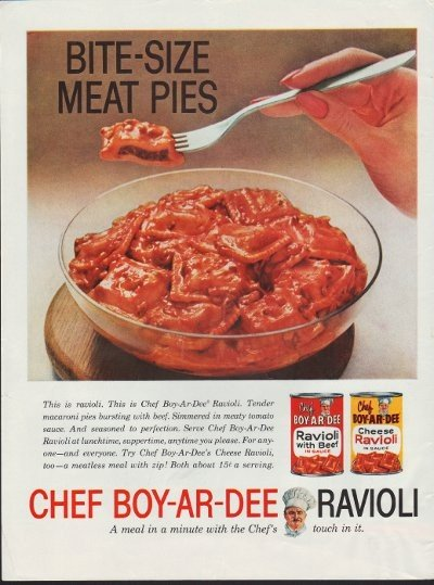 "1960 Chef Boy-Ar-Dee Ravioli Ad ""Bite-Size Meat Pies"""