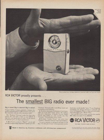 "1960 RCA Victor Ad ""Smallest Big Radio"""