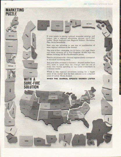 """1961 Ladies' Home Journal Ad """"Marketing Puzzle"""""""