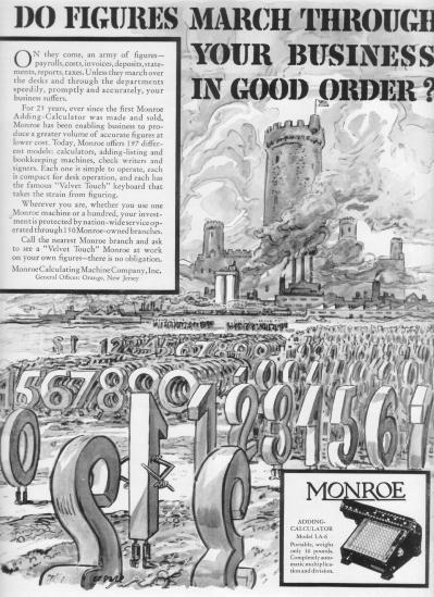 "1937 Monroe Calculator Ad ""Do Figures March"""