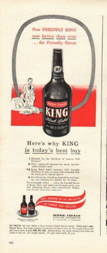 """1948 Brown-Forman Whisky Ad """"King"""""""