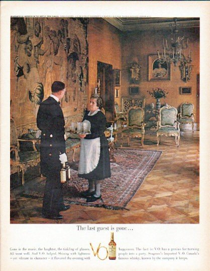 """1961 Seagram's V.O. Canadian Whisky Ad """"The last guest"""""""