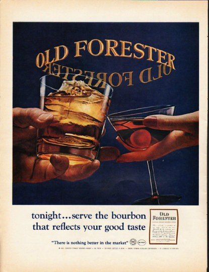 """1965 Old Forester Whisky Ad """"tonight"""""""
