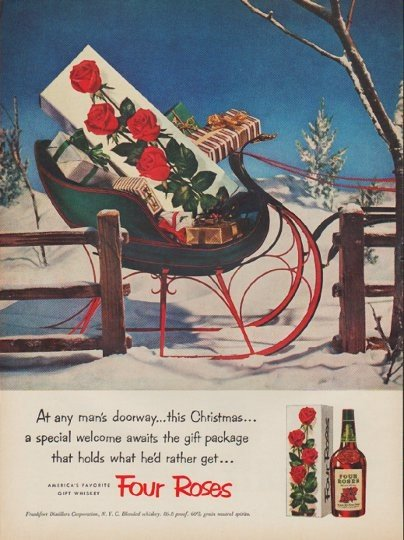 """1952 Four Roses Whiskey Ad """"any man's doorway"""""""