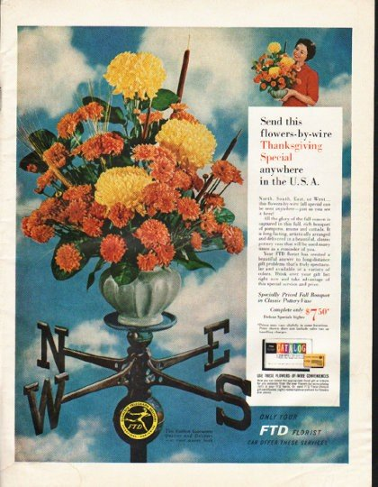 "1961 Florists' Telegraph Delivery Ad ""flowers-by-wire"""
