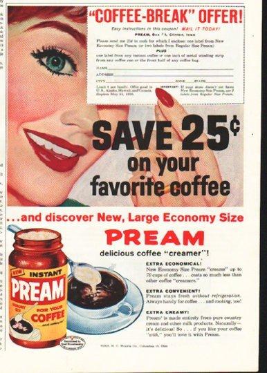 """1958 Pream Ad """"Coffee-Break"""""""