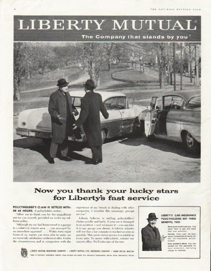 """1958 Liberty Mutual Insurance  Ad """"thank your lucky stars"""""""