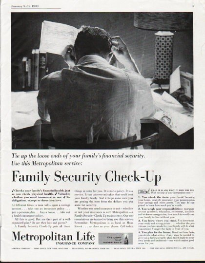 "1963 Metropolitan Life Insurance Ad ""Family Security Check-Up"""