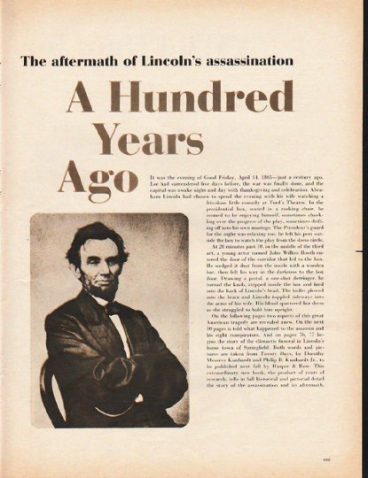 """1965 Lincoln Assassination Article """"A Hundred Years Ago"""""""