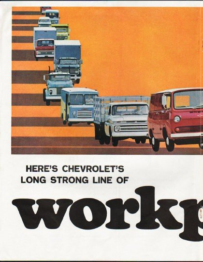 "1965 Chevrolet Trucks Ad ""workpower"" ~ (model year 1965)"