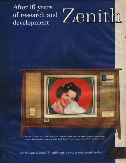 """1961 Zenith Television Ad """"16 years of research"""""""