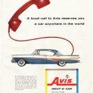 "1958 Avis Rent-a-Car Ad ""A local call"""