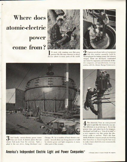 """1958 Electric Light and Power Companies Ad """"atomic"""""""