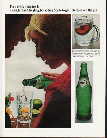 """1965 Sprite Soda Ad """"tart and tingling"""""""