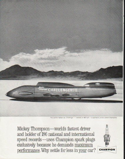"1963 Champion Spark Plugs Ad ""Mickey Thompson"""