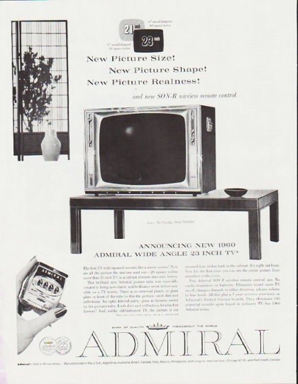 """1959 Admiral Television Ad """"New Picture Size"""" ~ (model year 1960)"""
