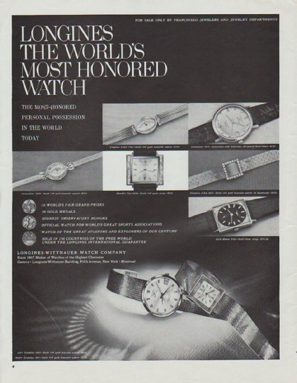 """1965 Longines-Wittnauer Watch Ad """"The World's Most Honored Watch"""""""