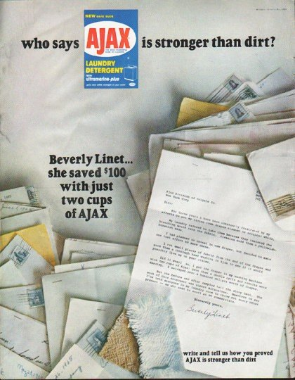 """1965 Ajax Laundry Detergent Ad """"who says"""""""