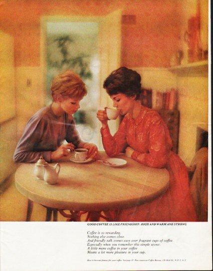 "1963 Pan-American Coffee Bureau Ad ""rich and warm"""
