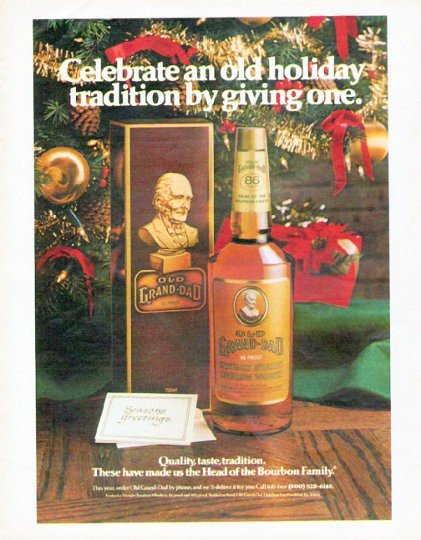 "1979 Old Grand-Dad Whiskey Ad ""old holiday tradition"""