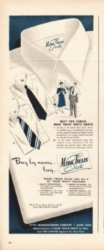 "1948 Mark Twain Shirts Ad ""Buy by name"""