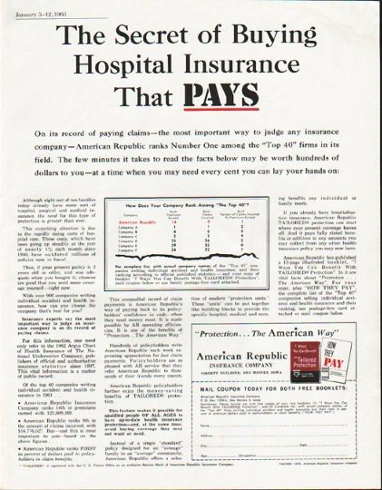 "1963 American Republic Insurance Company Ad ""The Secret"""