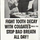 """1958 Colgate Toothpaste Ad """"stop bad breath all day"""""""