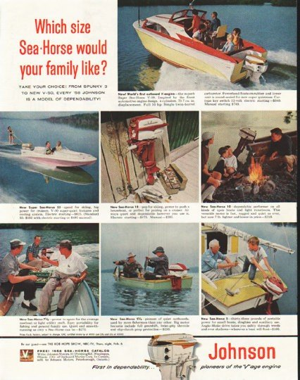 "1958 Johnson Outboard Engine Ad ""Which size"""
