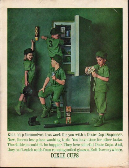 """1961 Dixie Cups Ad """"Kids help themselves"""""""