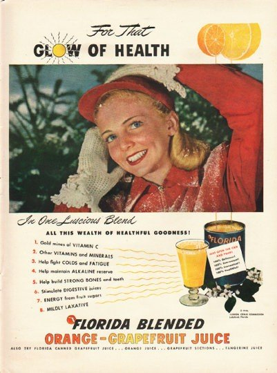 "1948 Florida Citrus Commission Ad ""Glow Of Health"""