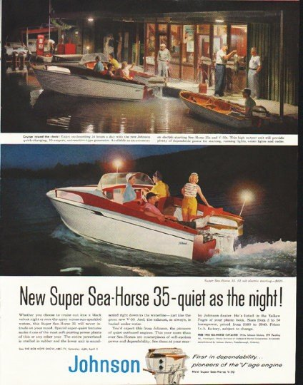 """1958 Johnson Outboard Engine Ad """"quiet as the night"""""""