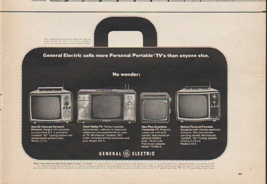 """1965 General Electric Ad """"Personal Portable"""""""