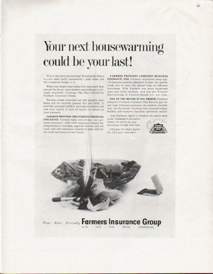 """1963 Farmers Insurance Group Ad """"Your next housewarming"""""""