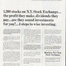 "1965 Members New York Stock Exchange Ad ""1,200 stocks"""