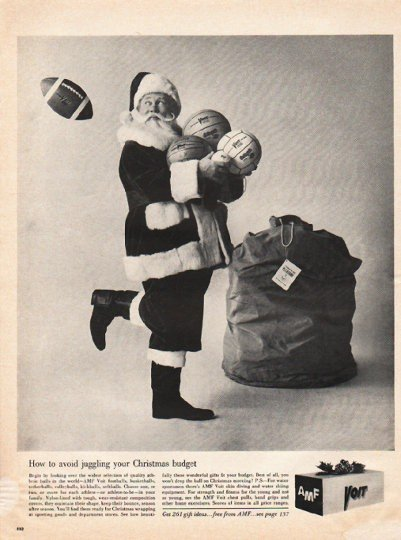 """1961 AMF Sporting Goods Ad """"avoid juggling"""""""