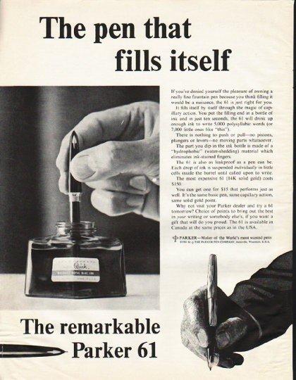 "1961 Parker Pen Ad ""fills itself"""