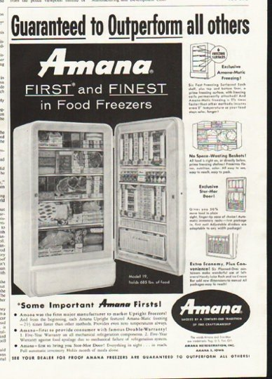 """1958 Amana Freezer Ad """"First and Finest"""""""