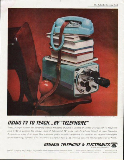 "1963 General Telephone & Electronics Ad ""Using TV"""