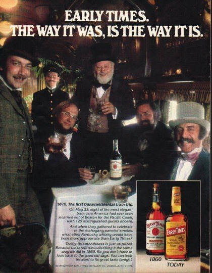 "1980 Early Times Whisky Ad ""The way it was"""