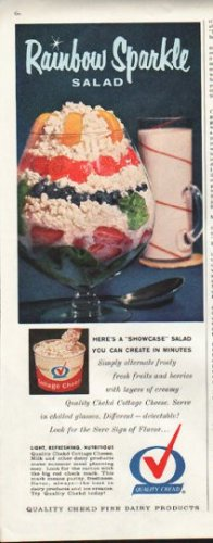 """1961 Quality Chekd Dairy Products Ad """"Rainbow Sparkle"""""""